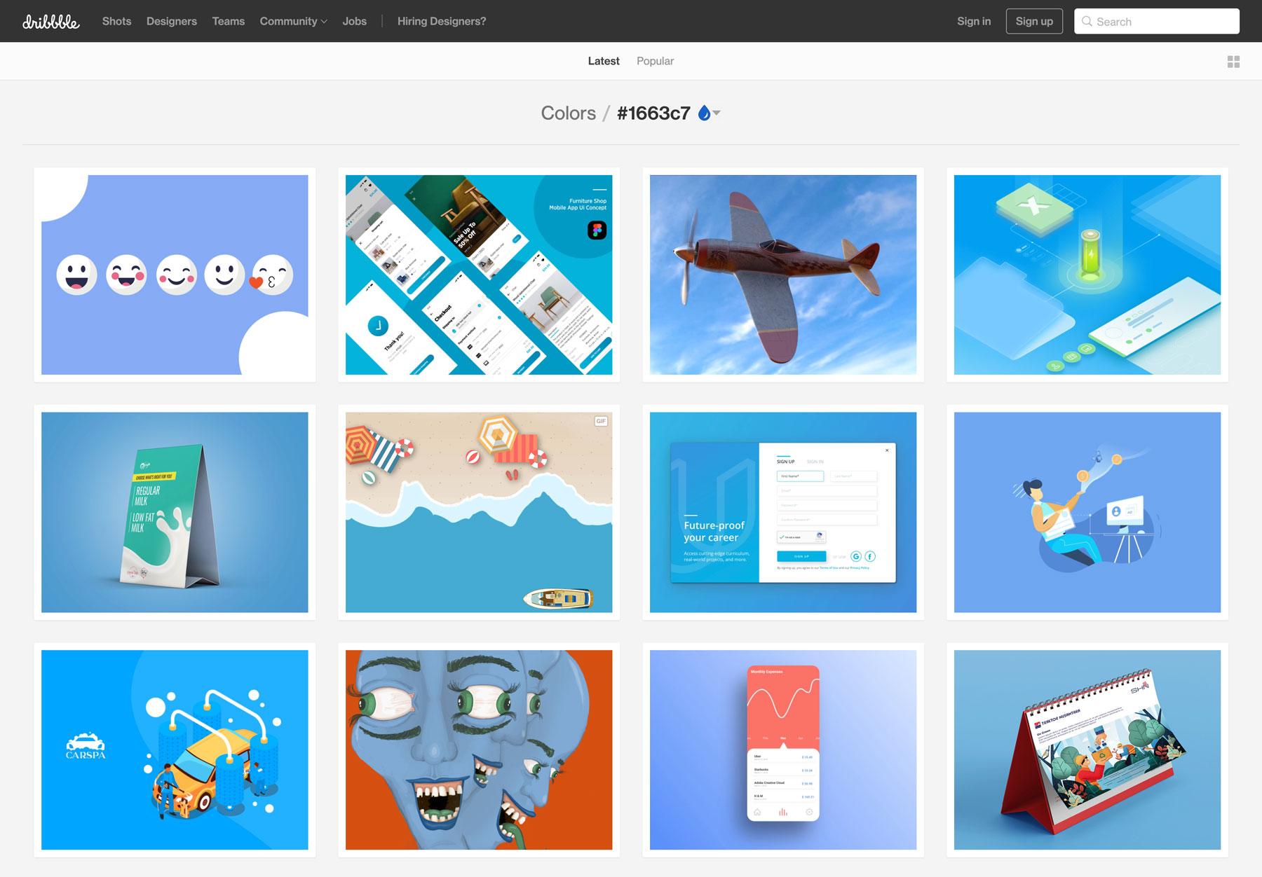 Dribbble Color Screenshot